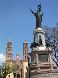 Statue of Hidalgo in front of the Cathedral of Dolores. Photo by Paige Morrison/Wikimedia Commons.