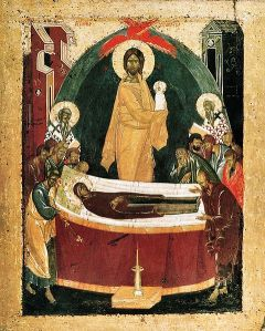Dormition of the Theotokos (Uspenie Bogoroditsy)--i.e., the repose of the Virgin Mary 1392, by Theophan the Greek.