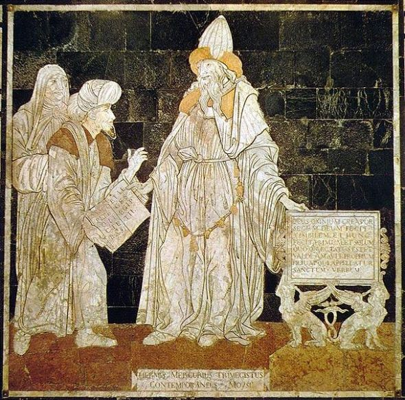Floor inlay in the Cathedral of Siena Russian: Hermes Mercurius Trismegistus, contemporary of Moses, on the left pages of the book