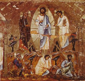 "The Transfiguration of Christ: Part of an iconostasis in Constantinople style. Middle of the 12th century. Saint Catherine's Monastery, Sinai (Egypt) / K. Weitzmann: ""Die Ikone"""