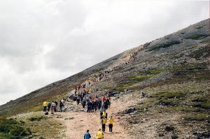 Croagh Patrick Pilgrim Sunday the ascent of the Holy Mountain. Photo by Alan James, (c) 2007.