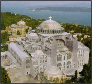 Hagia Sophia, The Church of Holy Wisdom in Constantinople as it was in the 12th Century. For Real: Stop this from being converted into a Mosque!
