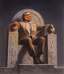 Portrait of Asimov by Rowena Morrill. It depicts him enthroned with symbols of his life's work.