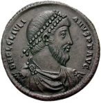 Portrait of Julian II on a bronze coin from Antiochië, 360-363. Photo courtesy of Classical Numismatic Group, Inc. (CNG)