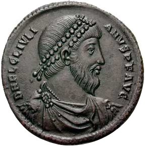 Portrait of Julianus Apostata ( Julian the Apostate) on a bronze coin from Antiochië, 360-363. Photo courtesy of Classical Numismatic Group, Inc. (CNG)