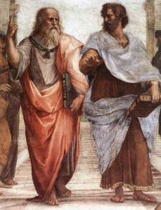 Plato (left) and Aristotle, detail from The School of Athens by Raphael (1509)