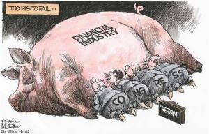 """Too Pig to Fail"" © by Jim Morin, The Miami Herald"