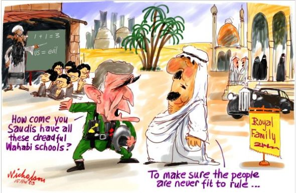 Buy a copy of this print and spread it around: http://nicholsoncartoons.com.au/wahabi-schools-saudi-royal-family-600wb.html