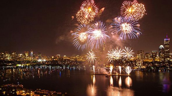 The Boston Pops fireworks erupt over the Charles River on July 4, 2011. (Flickr/Kunal Mukherjee)