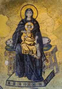 Theotokos and Christ Mosaic in Hagia Sophia, photo by Myrabella/Wikimedia