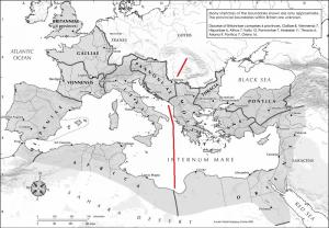 Roman Empire showing the Line of Diocletian