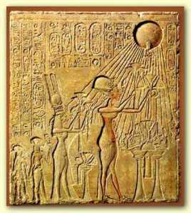 Akhenaten, Nefertiti and family worshiping the Aten.