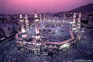 The Great Mosque in Mecca surrounding the Kaaba.