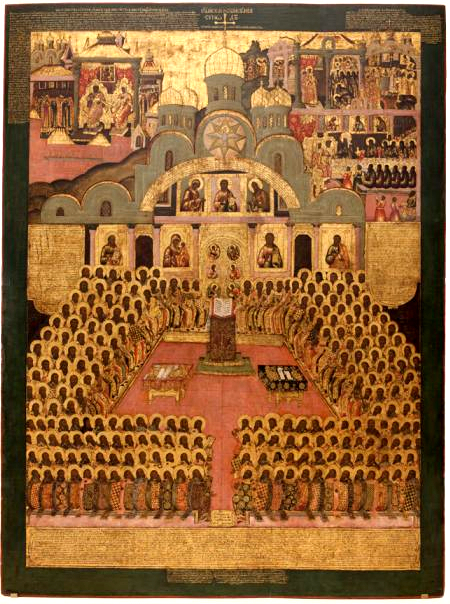 17th Century Novgorod Icon of the 7th Ecumenical Council (787).