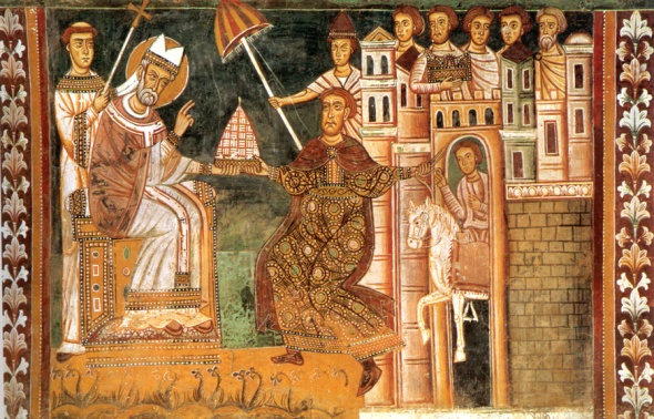 A 13th-century fresco of Sylvester and Constantine, showing the purported Donation. Santi Quattro Coronati, Rome