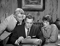Paul Drake, Perry Mason, and Della Street from the long-running TV series.