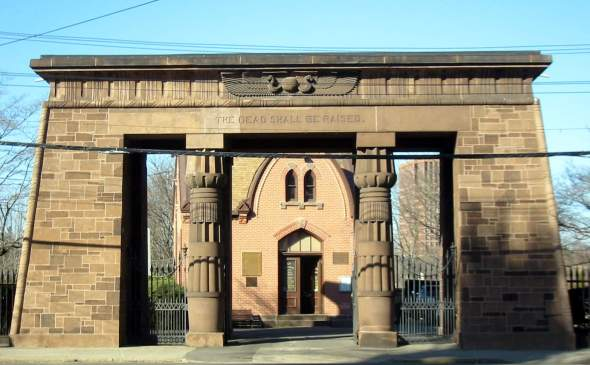 The Egyptian Revival Gate to the Grove Street Cemetery. Photo by Ragesoss.