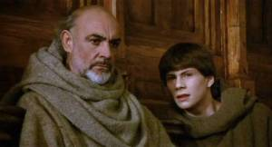 Sean Connery as Bro. William, and Christian Slater as Bro. Adso from the 1986 film, The Name of the Rose.