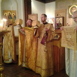 Fr. Kevin and Fr. Deacon Kyril at the Divine Liturgy at Our Lady of Fatima Byzantine Catholic Church, SF.