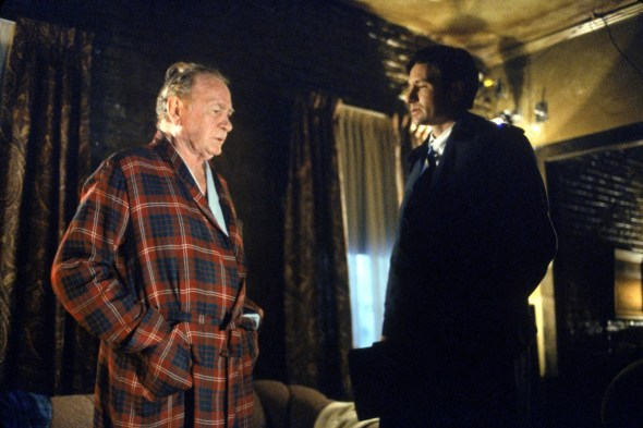 "Darrin McGavin as Arthur Dales, the ""father of the X-Files with Agent Mulder (David Duchovny)."