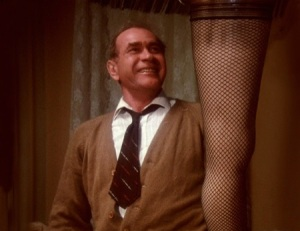 """The Old Man"" admiring the prized Leg Lamp from A Christmas Story"