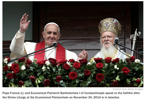 The Patriarch of Old Rome (L) and the Patriarch of New Rome (R)