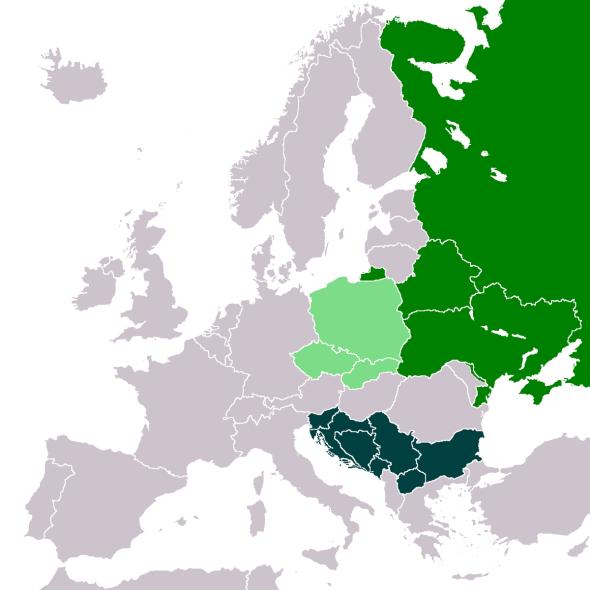 Slavic Europe: Western, Eastern and Southern Slavs. © Artemis Dread, Wikimedia Commons