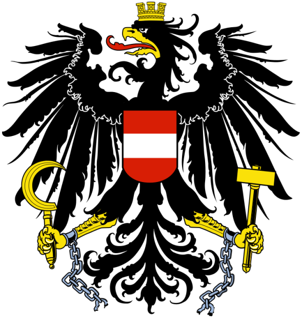 """""""Coat of arms of Austria"""" by Peter Diem - Peter Diem. Licensed under Public Domain via Wikimedia Commons - https://commons.wikimedia.org/wiki/File:Coat_of_arms_of_Austria.svg#/media/File:Coat_of_arms_of_Austria.svg"""