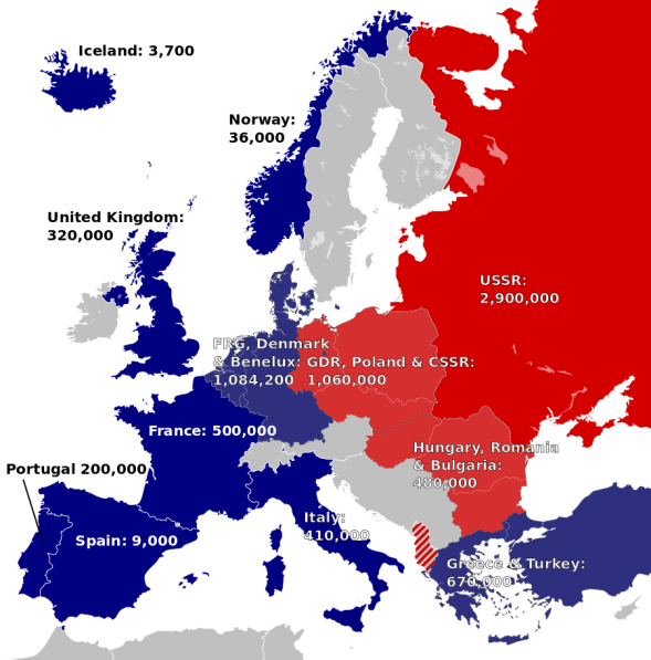 European NATO and Warsaw Pact forces. © Alphathon, Wikimedia Commons