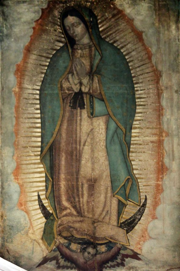 """1531 Nuestra Señora de Guadalupe anagoria"" An acheiropoietos icon (not made by hands) (1531 presented by Juan Diego) - Nueva Basílica de Nuestra Señora de Guadalupe. Licensed under Public Domain via Commons."