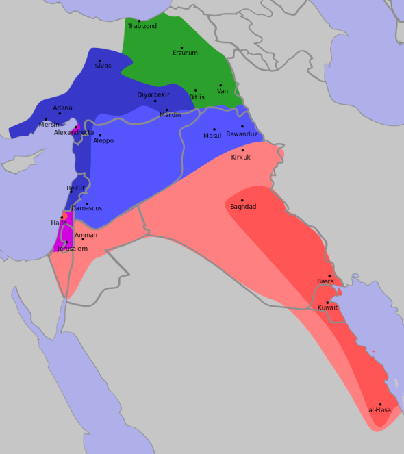 """Sykes-Picot"" by Rafy - http://www.jewishvirtuallibrary.org/jsource/History/sykesmap1.htmlhttp://books.google.nl/books?id=8WX6BZAmtx4C&pg=PA48. Licensed under CC BY-SA 3.0 via Commons - https://commons.wikimedia.org/wiki/File:Sykes-Picot.svg#/media/File:Sykes-Picot.svg"